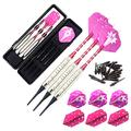 ROOBEEO Soft Tip Darts Set for Electronic Dart Board 18/22g Plastic Tip Darts Set with Brass Barrels&Aluminum Shafts, 6 Flights 3 Spare Plastic Dart Shaft 20 Soft Tips Portable Case (18g-Silver&Pink)