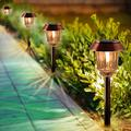 Solar Lights Pathway - Solar Pathway Lights 4 Pack, Solar Garden Lights, LED Landscape Lighting, Outdoor Decor IP65 Waterproof 8-10 Hrs, 10-40 Lm Dimmable, Warm White LED Solar Path Lights for Garden