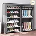 9 Tier Shoe Rack,Double Rows 9 Lattices Large Free Standing Shoe Racks,Shoe Storage Organizer Cabinet with Nonwoven Fabric Dustproof Cover,Space Saving Portable Closet Shoe Cabinet Tower (Gray)