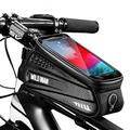 Bike Frame Bag, Bike Phone Mount, Waterproof Bicycle Handlebar Bag Cycling Front Top Tube Pouch Pannier Bike Phone Holder Stand for iPhone 12 11 Pro Max XS XR X 8 6 Plus Samsung Smartphone up to 6.7''