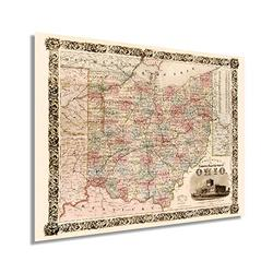 Historix Vintage 1851 State of Ohio Map - 18x24 Inch Ohio State Vintage Map - Township Map of the State of Ohio Wall Art - Ohio State Print - Ohio Wall Map Poster - Ohio Map Art - Ohio Decor (2 Sizes)