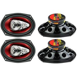 """New BOSS Chaos CH6940 6x9"""" 500W 4-Way Car Coaxial Audio Stereo Speakers Red"""