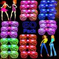 AY 60 Pack LED Party Light Up Glasses, 5 Colors Glow in the Dark Shutter Shades Party Favors for Adults Kids Thansgiving Carnival Rave Halloween Birthday Party