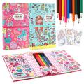 Mermaid Coloring Pads Set for Kids, Mess Free Coloring Activity Notebook, 120 Coloring Pages and 20 Coloring Pencils for Drawing Painting, Mermaid Birthday Gift for Girls Boys Age 2 3 4 5 6 7 8