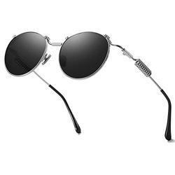 VANLINKER Round Trendy Metal Polarized Sunglasses For Men UV Protection Reflective Lens Spring Leg Vapor with Matte Blue Frame/Grey Lens
