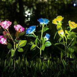 Neporal Solar Lights Outdoor Decorative 3 Pack IP65 Waterproof Solar Flowers Fiber Optic Solar Lighting Solar Garden Light Stakes for Yard Patio Garden Pathway Solar Lights Outdoor Decorative Rose