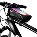 Linjin Bike Phone Mount Bag,Bike Phone Front Frame Bag-Waterproof Bicycle Bag Top Tube Cycling Phone Mount Pack with Touch Screen Sun Visor Large Capacity Phone Case for Cellphone (Black)