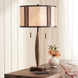 Harris Industrial Rustic Farmhouse Table Lamp Bronze Brown Wood Metal Mica Drum Shade Decor for Living Room Bedroom House Bedside Nightstand Home Office Entryway Reading Family - Franklin Iron Works