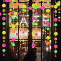 Neon Decorations Neon Paper Garland Circle Dots Banner Hanging Decorations,HAPPY BIRTHDAY Banner,Black Light Party UV Glow Party Supplies Christmas Decorations (Circle dots)…