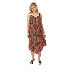 Plus Size Women's Bali Point Hem Dress by ellos in Hot Coral Multi Print (Size L)