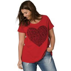 Plus Size Women's Love Ellos Tee by ellos in Classic Red Heart (Size L)