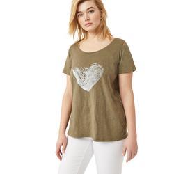 Plus Size Women's Love Ellos Tee by ellos in Burnt Olive Heart (Size 5X)