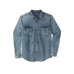 Men's Big & Tall Boulder Creek Long Sleeve Denim and Twill Shirt by Boulder Creek in Light Wash (Size 9XL)