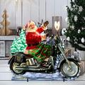 "Designocracy Santa Motorcycle Rider Home & Outdoor Decor Lawn Art/Figurine, Wood in Red/Blue/Black, Size 26""H X 32""W X 16""D 