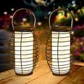 2 Pack Hanging Solar Lanterns Solar Lights with Handle, Solar Lantern Outdoor Solar Powered Lantern 30 LEDs Solar Table Lights Waterproof Auto On/Off for Garden Patio Deck Yard Path Decoration