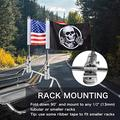 2 Pack Motorcycle Flagpole Mount Fold Down 90°with American Flag and Punk Skull Flag 6.3'' x 10.3'' Flag Pole Bracket Fit for 1/2'' Tubular Luggage Rack Harley Touring Spring Honda Goldwing etc.