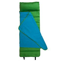 Wildkin Cotton Twill Nap Mat for Toddler Boys and Girls, Kids Nap Mats Measures 50 x 20 x 1.5 Inches, Ideal for Daycare and Preschool, Features Attached Fleece Blanket, BPA-Free (Lime Green)