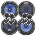 2 Pairs Audiotek 65C 2000W 6.5-Inch 2-Way Car Audio Component Speaker System 6-1/2in - Aluminum Voice Coil - IMPP Cone with Carbon Fiber Finish and Butyl Rubber Surround