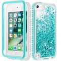 Caka iPod Touch 5 6 7 Case for Girls, iPod Touch Case 5th 6th 7th Generation Glitter Full Body Case Built in Screen Protector Bling Diamond Floating Liquid Case for iPod Touch 5 6 7 (Green)