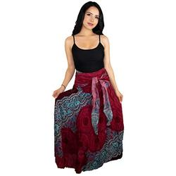 Happy Trunks Womens Boho Long Maxi Skirts - Loose Gypsy Wrap Skirt - Bohemian Hippie Style High Waisted Skirt (Plus, Red Honeycomb)