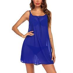Sheshow Womens Plus Cover Up Sexy Chiffon Swimsuit Cover Ups Sheer Bikini Summer Dresses Blue