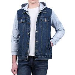 Lars Amadeus Men's Jean Jacket Hoody Knit Sleeves Casual Denim Jacket with Hood Blue 38