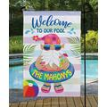 Personalized Planet Garden Flags - Blue & Pink 'Welcome to our Pool' Personalized Outdoor Flag