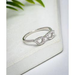 Ag Sterling Jewelry Women's Rings Silver, - Cubic Zirconia & Sterling Silver Pave Glasses Ring