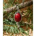 Urban Silver Women's Pendants SILVER/RED - Sterling Silver & Red Oval Pendant