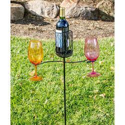Picnic Plus Garden Stakes Black - Garden Stake Wine Bottle & Wine Glass Holder