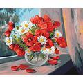 YJJPP pour Enfant Adulte Dessiner Couleur par numéros Plante de Fleur Rouge et Blanc dans Un Vase en Verre Cadeau Bricolage sur Toile 40x50cm (encadré)