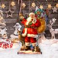 "Designocracy Woodland Santa Home & Outdoor Decor Lawn Art/Figurine, Wood in Red/Gold, Size 22""H X 32""W X 16""D 