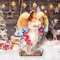 "Designocracy Angel of the Light Home & Outdoor Decor Lawn Art/Figurine, Wood in White, Size 22""H X 32""W X 16""D 