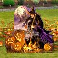 "Designocracy All Hallows Eve Home & Outdoor Decor Lawn Art/Figurine, Wood in Purple/Orange, Size 32""H X 31""W X 16""D 
