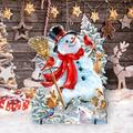 "Designocracy Frosty Forest Friends Snowman Home & Outdoor Decor Lawn Art/Figurine, Wood in White, Size 25""H X 32""W X 16""D 