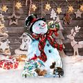 "Designocracy An Old-Fashioned Christmas Home & Outdoor Decor Lawn Art/Figurine, Wood in Red/White, Size 21""H X 32""W X 16""D 