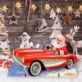 "Designocracy Santa Sports Car Home & Outdoor Decor Lawn Art/Figurine, Wood in Red, Size 19""H X 32""W X 16""D 