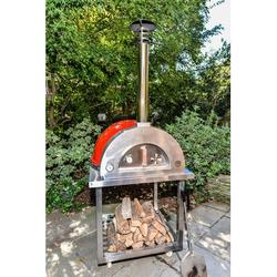 Medici Mosaics Forno di Italy Woodburning Outdoor Stainless Steel Freestanding Pizza Oven Steel in Red, Size 93.0 H x 37.0 W x 41.0 D in | Wayfair