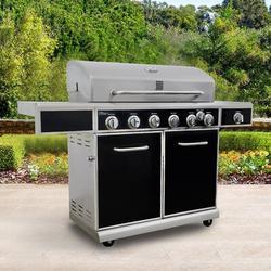 Kenmore 6-Burner Propane Gas Grill w/ Side Burner Stainless Steel in Black/Gray, Size 45.5 H x 64.2 W x 23.6 D in | Wayfair PG-40602SRL