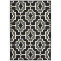 Solo Rugs Laurette Geometric Black/Gray Indoor/Outdoor Area Rug Polypropylene in White, Size 60.0 H x 36.0 W x 0.11 D in | Wayfair