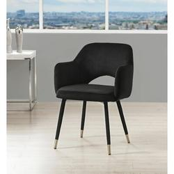"""Everly Quinn Woodard 22"""" Wide Velvet Armchair Wood/Velvet/Fabric in Black, Size 33.0 H x 22.0 W x 24.0 D in   Wayfair"""