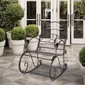 Astoria Grand Glastonbury Paint Sun Shape Outdoor Garden Single Rocking Chair Metal in Brown, Size 40.9 H x 35.0 W x 24.0 D in | Wayfair