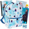 Disney Frozen Backpack Set Girls Kids - 6 Piece Disney Frozen School Backpack Bag Set with Notebook, 2 Folders, Stickers and More (Disney Frozen School Supplies)