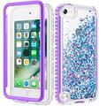 Caka iPod Touch 5 6 7 Case for Girls, iPod Touch Case 5th 6th 7th Generation Glitter Full Body Case with Screen Protector Bling Diamond Floating Liquid Case for iPod Touch 5 6 7 (Azure Violet)