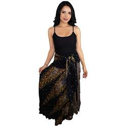Happy Trunks Womens Boho Long Maxi Skirts - Loose Gypsy Wrap Skirt - Bohemian Hippie Style High Waisted Skirt (Plus, Black Peacock)