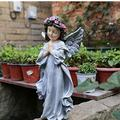 "HomDSim 12"" Praying Angel with Wings Garden Statue Angel Figurines in God's Grace Guardian Angel Statue (Gray)"