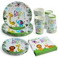 Hello Baby Party Supplies, Jungle Animal Themed Party Tableware Set for Boys Kids Birthday Baby Shower Disposable Dinner Dessert Plates Napkins Cups Serves for 24 Guests
