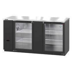 """Hoshizaki HBB-3G-LD-69 69 1/2"""" Bar Refrigerator - 2 Swinging Glass Doors, Black, 115v"""