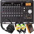 Tascam DP-03SD 8-Track Digital Portastudio Multi-Track Audio Recorder with Pro Headphone and Pair of EMB XLR Cables and Gravity Magnet Phone Holder Bundle