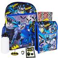 """Batman Backpack and Lunch Box Set for Kids Boys ~ 7 Pc Deluxe 16"""" Batman School Bag, Lunch Bag, Patches, Stickers, and More (Batman School Supplies Bundle)"""